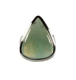 Zilveren ring jade maat 17 1/4 | druppel 2,2 x 1,8 cm