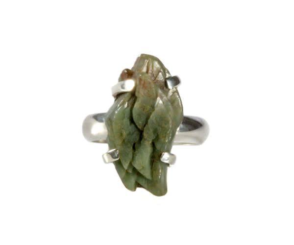 Zilveren ring heulandiet (groen) maat 17 | ruw 2,2 x 1 cm