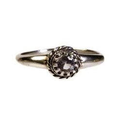 Zilveren ring fenakiet maat 18 | facet rond
