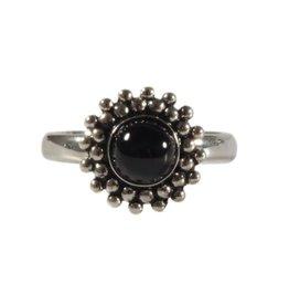 Zilveren ring diopsiet (ster) maat 17 1/4 | rond bolletjes
