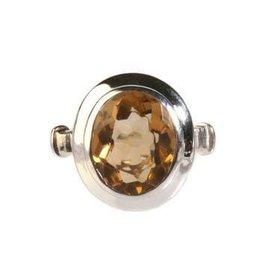 Zilveren ring citrien (verhit) maat 17 1/2 | ovaal 9 x 12 mm