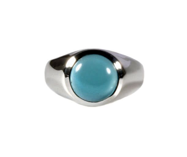 Zilveren ring chalcedoon maat 15 1/4 | rond 9 mm