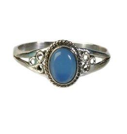 Zilveren ring chalcedoon maat 19 | ovaal cirkels