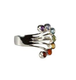 Zilveren ring chakra waaier maat 17