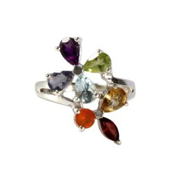 Zilveren ring chakra bloem maat 18