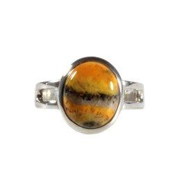 Zilveren ring bumble bee jaspis maat 17 3/4 | ovaal 1,2 x 1 cm