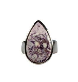 Zilveren ring tiffany stone maat 18 | druppel 2,2 x 1,4 cm