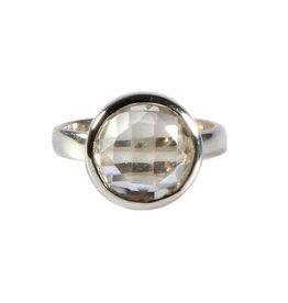 Zilveren ring bergkristal maat 17 1/2   rond facet 1,2 cm