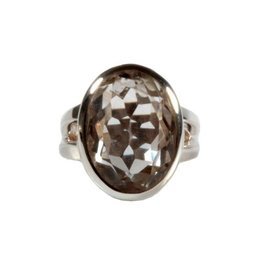 Zilveren ring bergkristal maat 17 1/2 | ovaal facet 19 x 13 mm