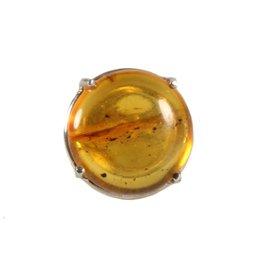 Zilveren ring barnsteen maat 17 1/2   rond 2 cm met insect