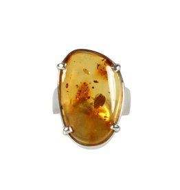 Zilveren ring barnsteen maat 19 1/4 | ovaal 2,6 x 1,8 cm
