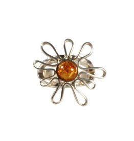 Zilveren ring barnsteen maat 16 | bloem 6 mm