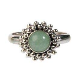 Zilveren ring aventurijn (groen) maat 17 1/4 | rond bolletjes
