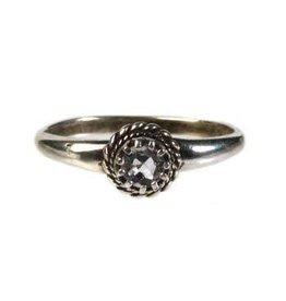Zilveren ring aquamarijn maat 17 1/4 | rond klein