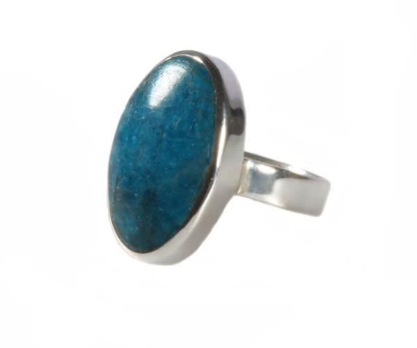 Zilveren ring apatiet maat 17 1/4 | ovaal glad 2 x 1,4 cm