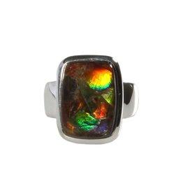 Zilveren ring ammoliet maat 17 1/4 | rechthoek 1,6 x 1,1 cm