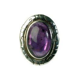 Zilveren ring amethist maat 16 3/4 | ovaal gegraveerd