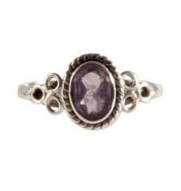 Zilveren ring amethist maat 17 1/4 | ovaal cirkels facet