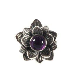 Zilveren ring amethist maat 18 3/4 | lotus