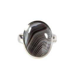Zilveren ring agaat (Botswana) maat 21 | ovaal 2,2 x 1,6 cm
