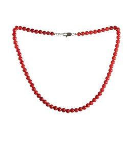 Koraal (rood gekleurd) ketting 6 mm kralen