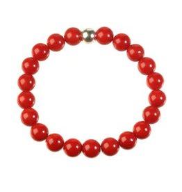 Koraal (rood gekleurd) armband 20 cm | 7 mm kralen