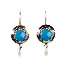 Zilveren oorbellen turkoois rond parel