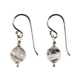 Zilveren oorbellen toermalijnkwarts rond 8 mm