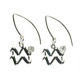 Zilveren oorbellen sterrenbeeld waterman met fluoriet (multi)