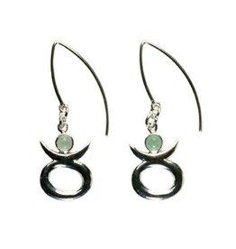 Zilveren oorbellen sterrenbeeld stier met groene aventurijn