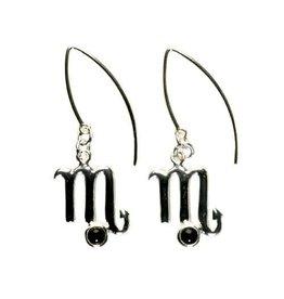 Zilveren oorbellen sterrenbeeld schorpioen zwarte obsidiaan