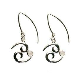 Zilveren oorbellen sterrenbeeld kreeft met rozenkwarts