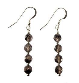 Zilveren oorbellen obsidiaan (apachetranen) facet 4 bolletjes
