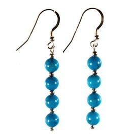 Zilveren oorbellen howliet (turquoise gekleurd) 4 bolletjes