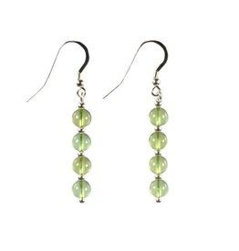 Zilveren oorbellen barnsteen (natuurlijk groen) 4 bolletjes