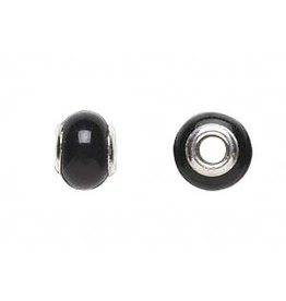 Zilveren kraal agaat (zwart gekleurd) rondelle