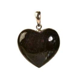 Zilveren hanger toermalijn (zwart) hart 2 cm