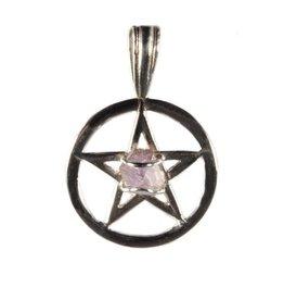 Zilveren hanger amethist herkimer diamant pentagram