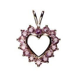 Zilveren hanger amethist hart facet steentjes