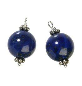 Zilveren bedels lapis lazuli voor creolen (2 stuks)