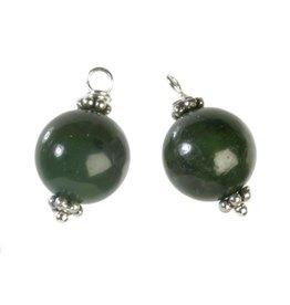 Zilveren bedels jade voor creolen (2 stuks)