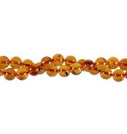 Barnsteen (cognac) kralen rond 8 mm (snoer van 40 cm)
