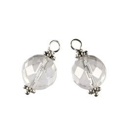 Zilveren bedels bergkristal facet voor creolen (2 stuks)