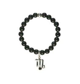 Zilveren armband sterrenbeeld schorpioen met obsidiaan
