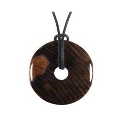 Versteend hout hanger donut 3 cm