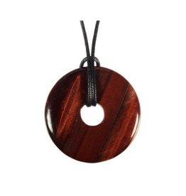 Tijgeroog (rood) hanger donut 3 cm