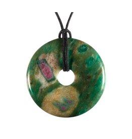 Robijn in fuchsiet hanger donut 4 cm