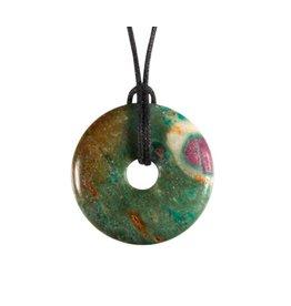 Robijn in fuchsiet hanger donut 3 cm