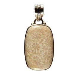 Zilveren hanger koraal (fossiel) 1,6 x 1,6 cm