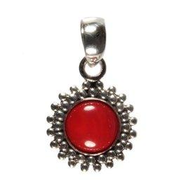 Zilveren hanger koraal (rood gekleurd) rond bolletjes